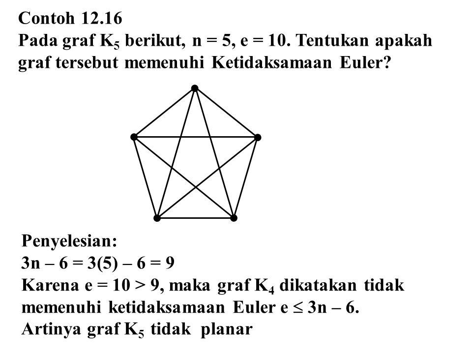 Contoh 12.16 Pada graf K5 berikut, n = 5, e = 10. Tentukan apakah. graf tersebut memenuhi Ketidaksamaan Euler