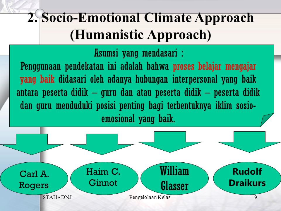 2. Socio-Emotional Climate Approach (Humanistic Approach)