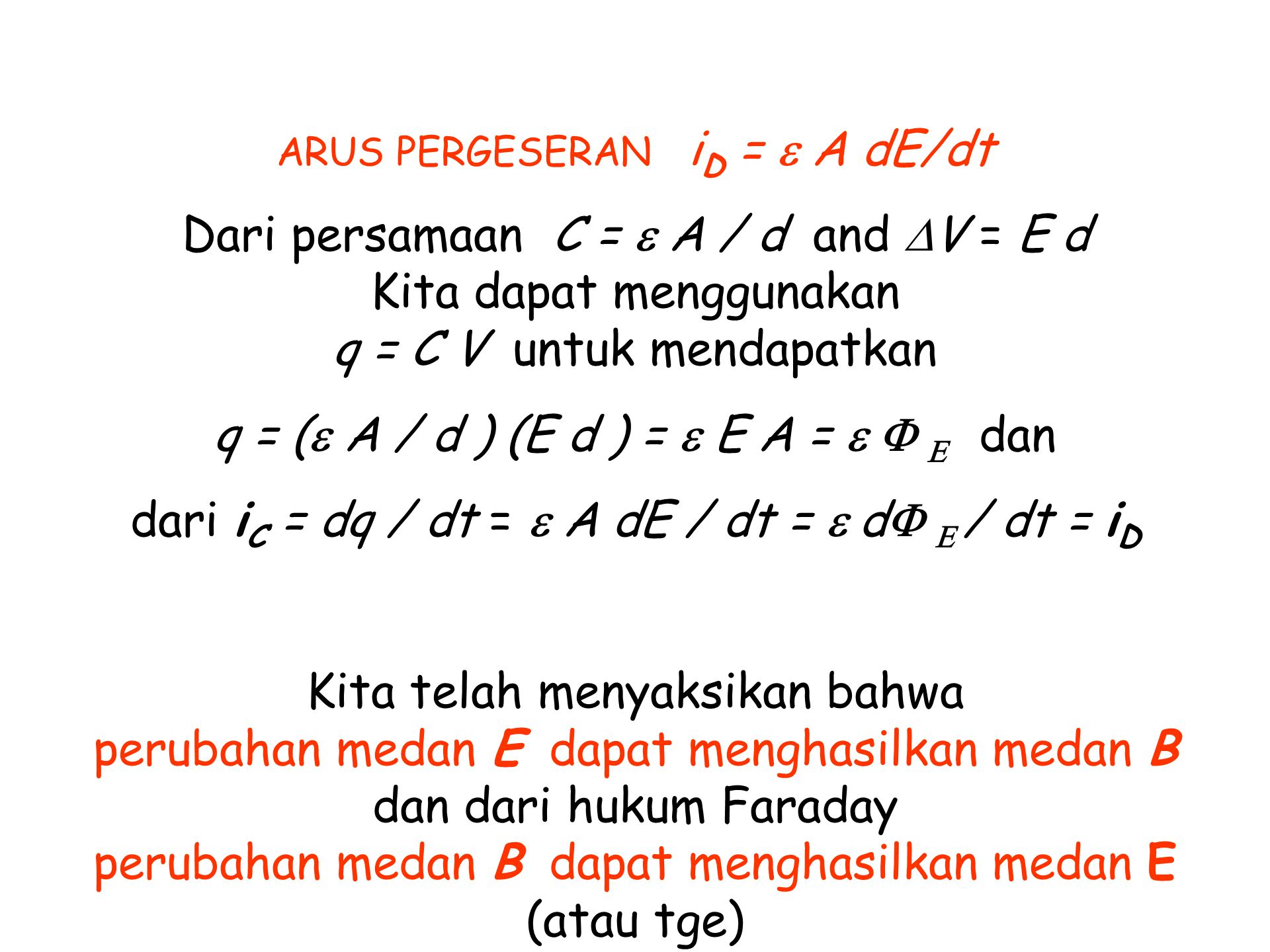 q = (e A / d ) (E d ) = e E A = e F E dan