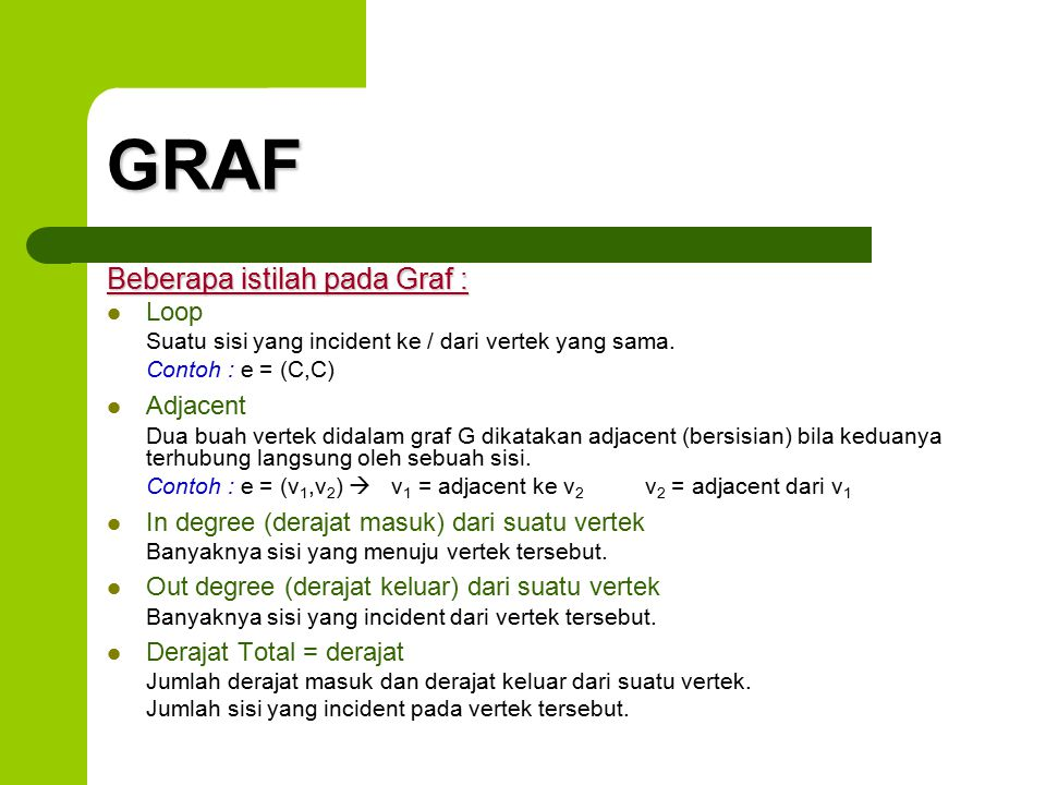 GRAF Beberapa istilah pada Graf : Loop Adjacent