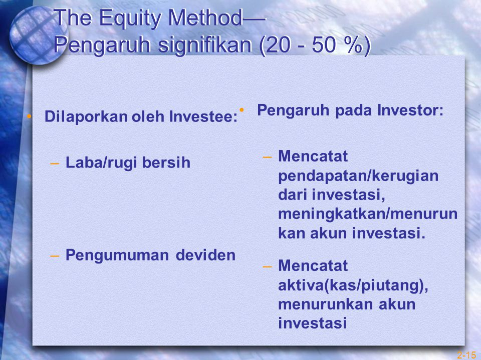 The Equity Method— Pengaruh signifikan (20 - 50 %)
