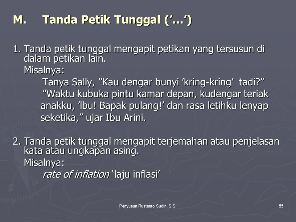 M. Tanda Petik Tunggal ('...')