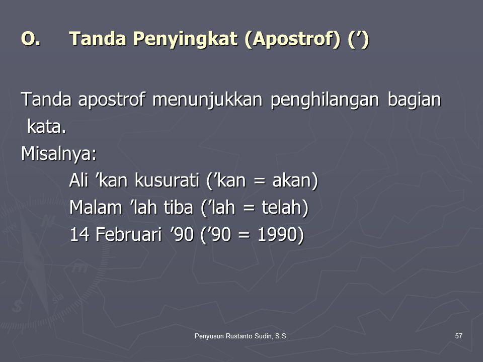 O. Tanda Penyingkat (Apostrof) (')