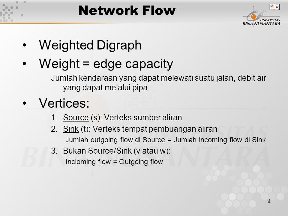 Network Flow Weighted Digraph Weight = edge capacity Vertices: