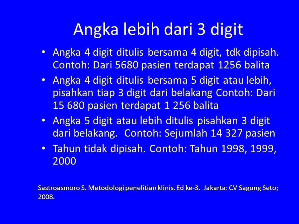 Angka lebih dari 3 digit Angka 4 digit ditulis bersama 4 digit, tdk dipisah. Contoh: Dari 5680 pasien terdapat 1256 balita.