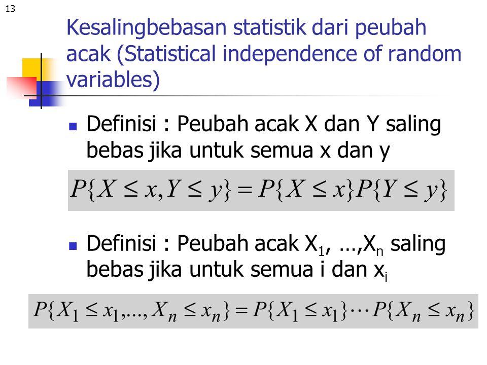 Kesalingbebasan statistik dari peubah acak (Statistical independence of random variables)