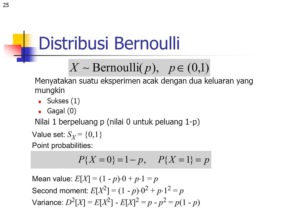 Distribusi Bernoulli Menyatakan suatu eksperimen acak dengan dua keluaran yang mungkin. Sukses (1)