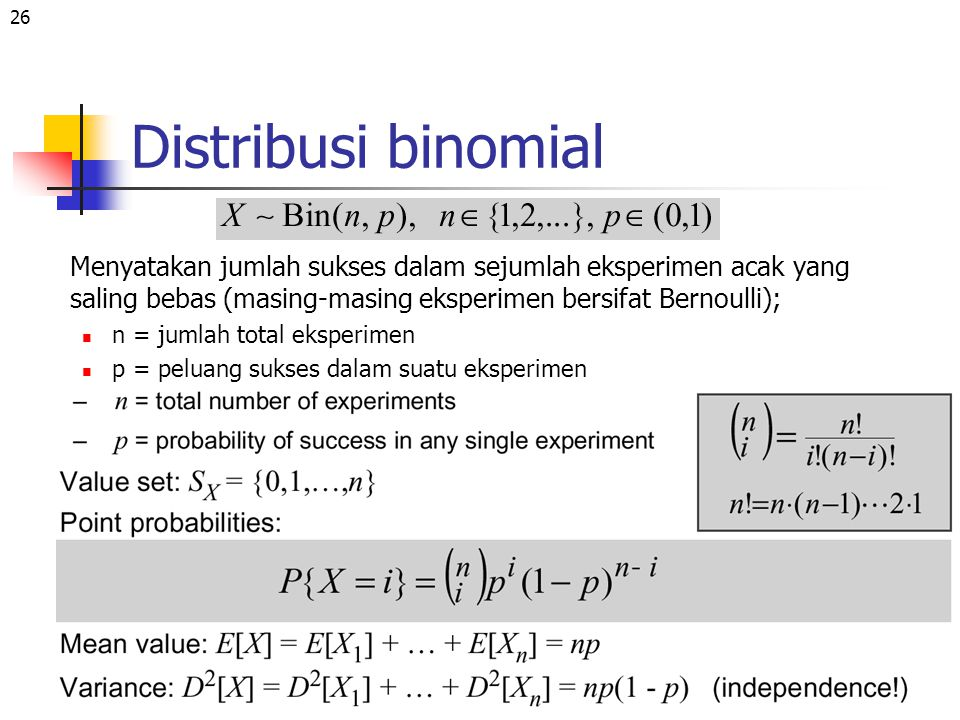 Distribusi binomial Menyatakan jumlah sukses dalam sejumlah eksperimen acak yang saling bebas (masing-masing eksperimen bersifat Bernoulli);
