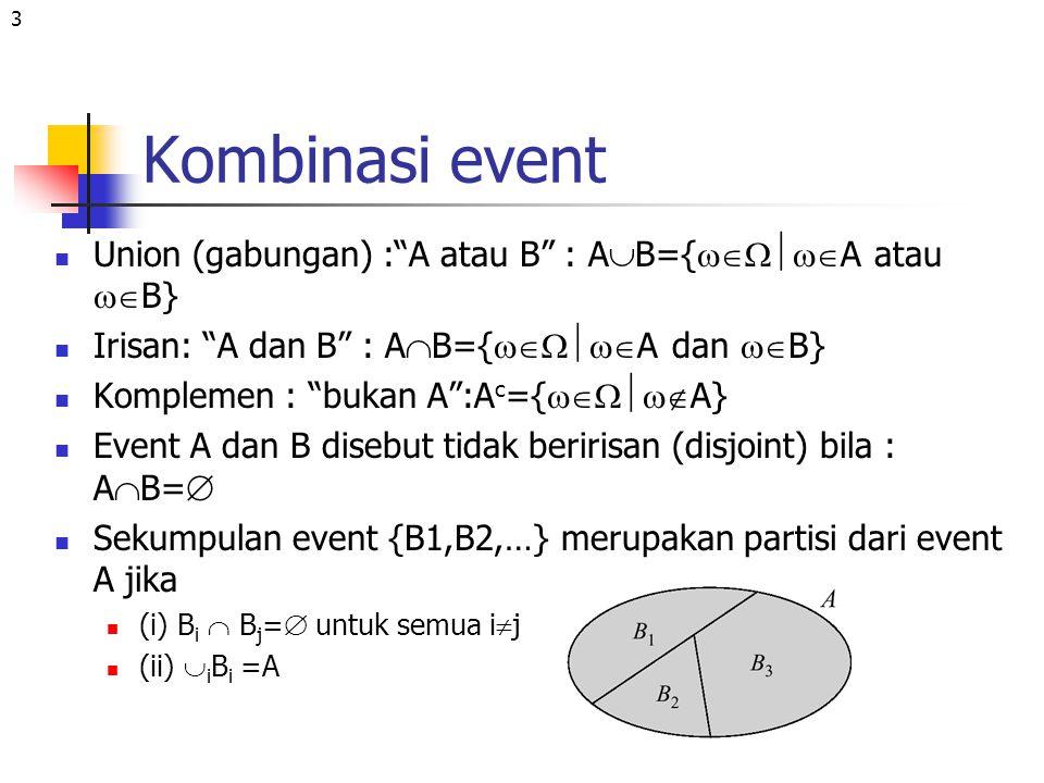Kombinasi event Union (gabungan) : A atau B : AB={A atau B}
