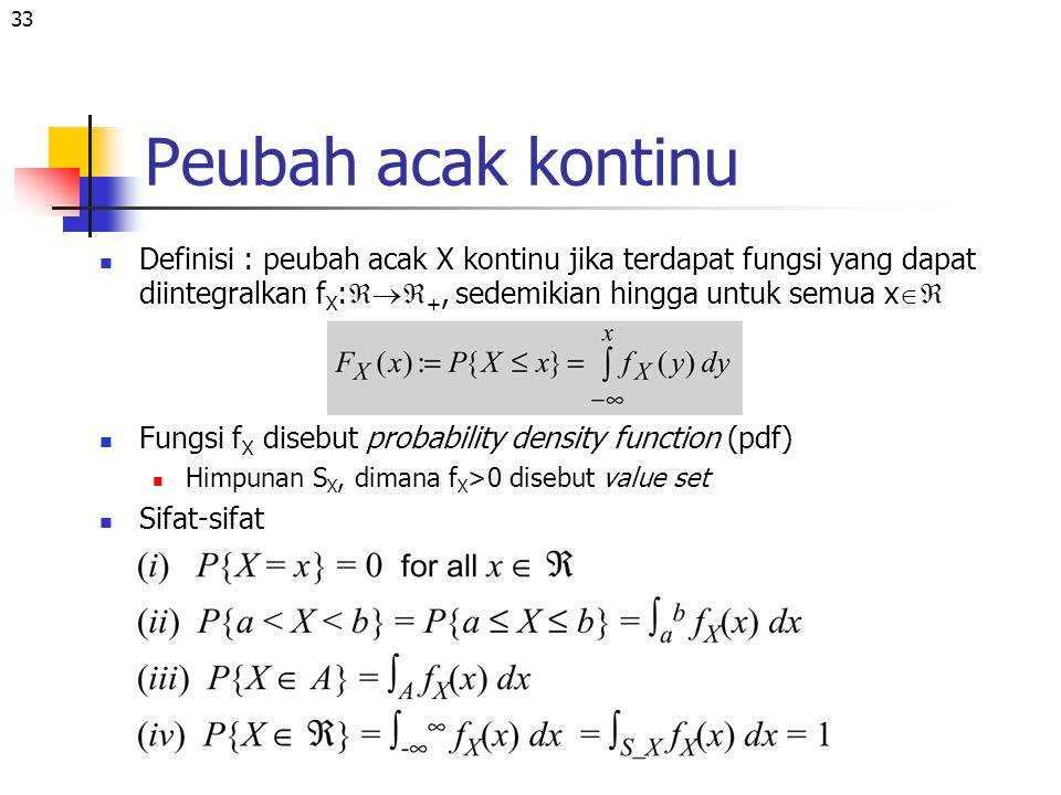 Peubah acak kontinu Definisi : peubah acak X kontinu jika terdapat fungsi yang dapat diintegralkan fX:+, sedemikian hingga untuk semua x