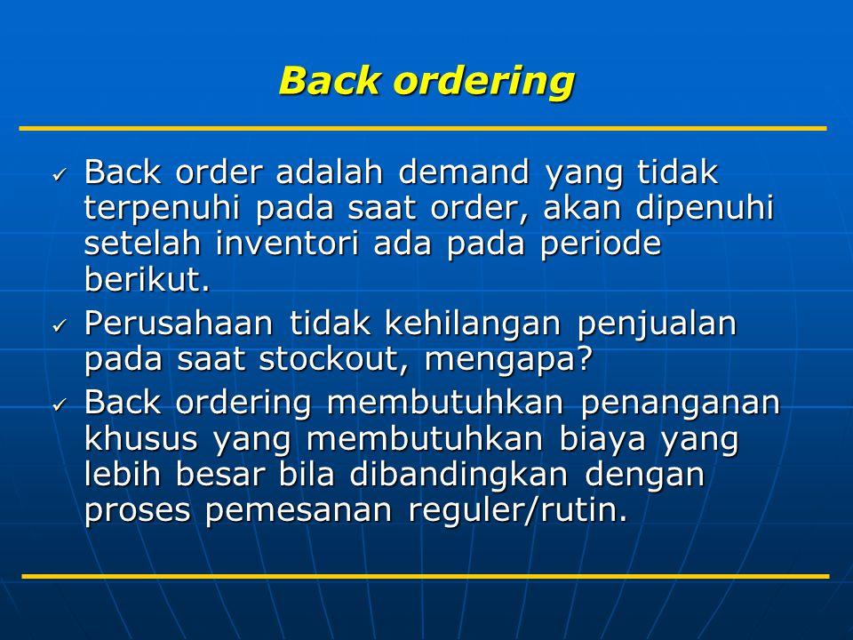 Back ordering Back order adalah demand yang tidak terpenuhi pada saat order, akan dipenuhi setelah inventori ada pada periode berikut.