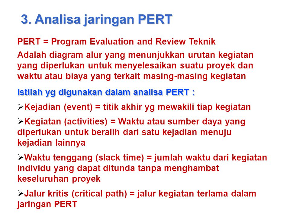 3. Analisa jaringan PERT PERT = Program Evaluation and Review Teknik