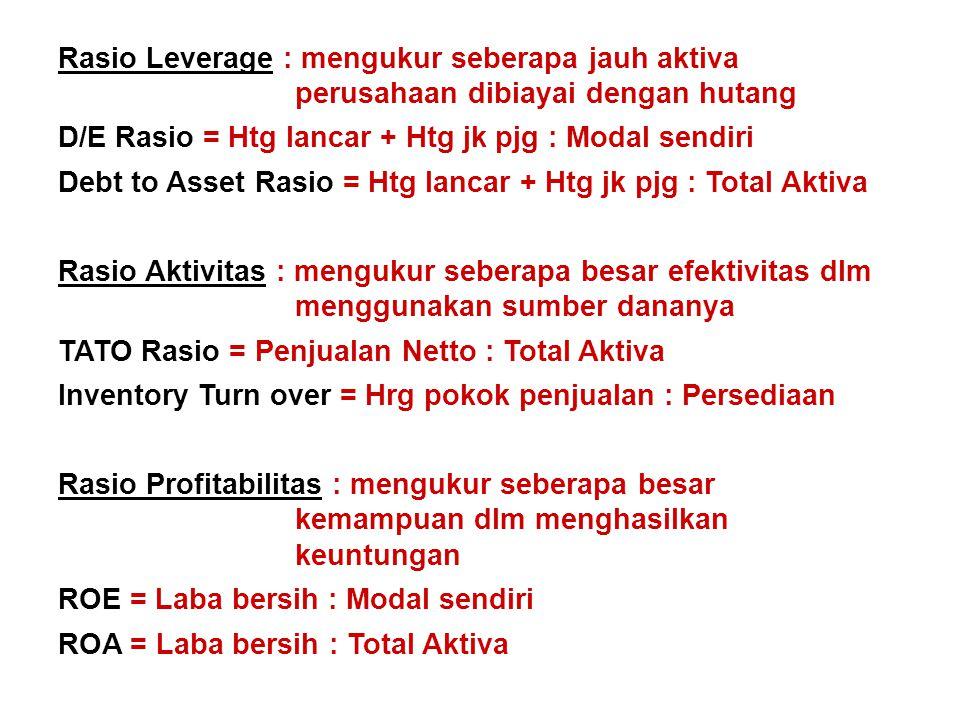 D/E Rasio = Htg lancar + Htg jk pjg : Modal sendiri