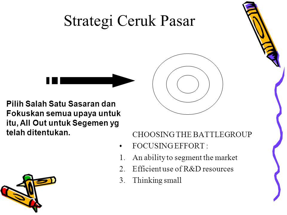 Strategi Ceruk Pasar Pilih Salah Satu Sasaran dan Fokuskan semua upaya untuk itu, All Out untuk Segemen yg telah ditentukan.