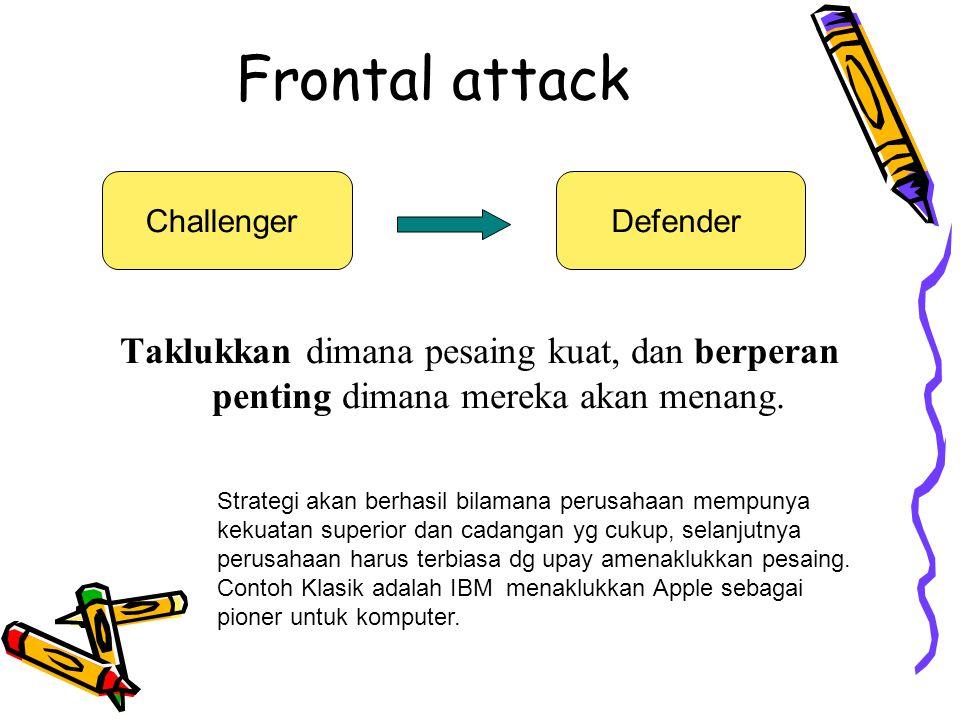 Frontal attack Challenger. Defender. Taklukkan dimana pesaing kuat, dan berperan penting dimana mereka akan menang.