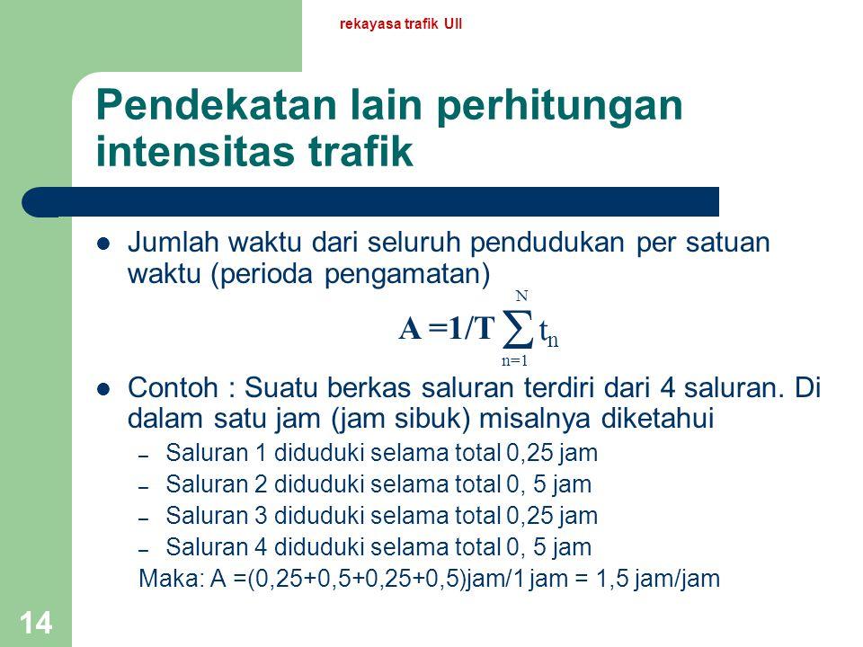 Pendekatan lain perhitungan intensitas trafik