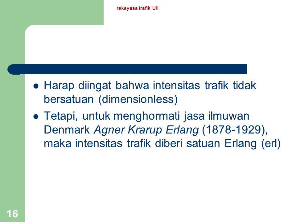 Harap diingat bahwa intensitas trafik tidak bersatuan (dimensionless)
