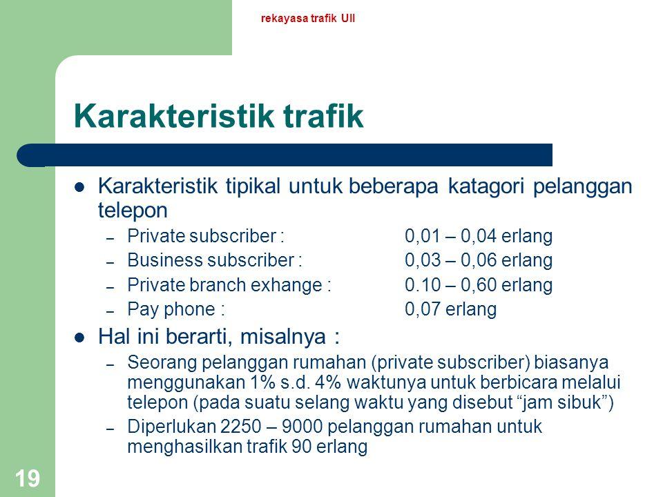 rekayasa trafik UII Karakteristik trafik. Karakteristik tipikal untuk beberapa katagori pelanggan telepon.