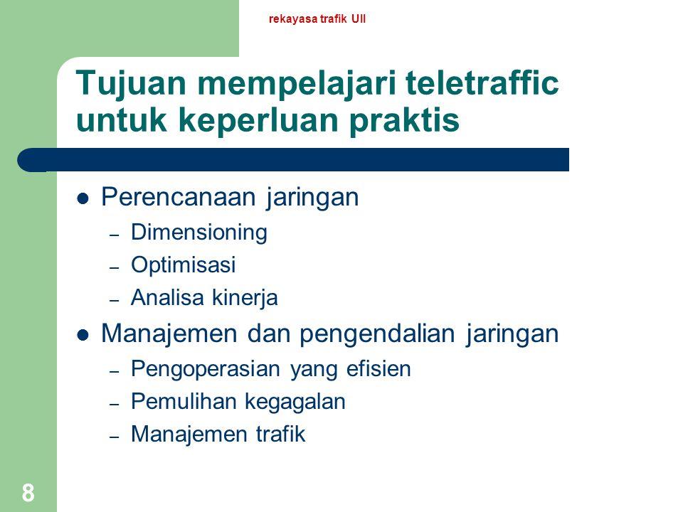Tujuan mempelajari teletraffic untuk keperluan praktis