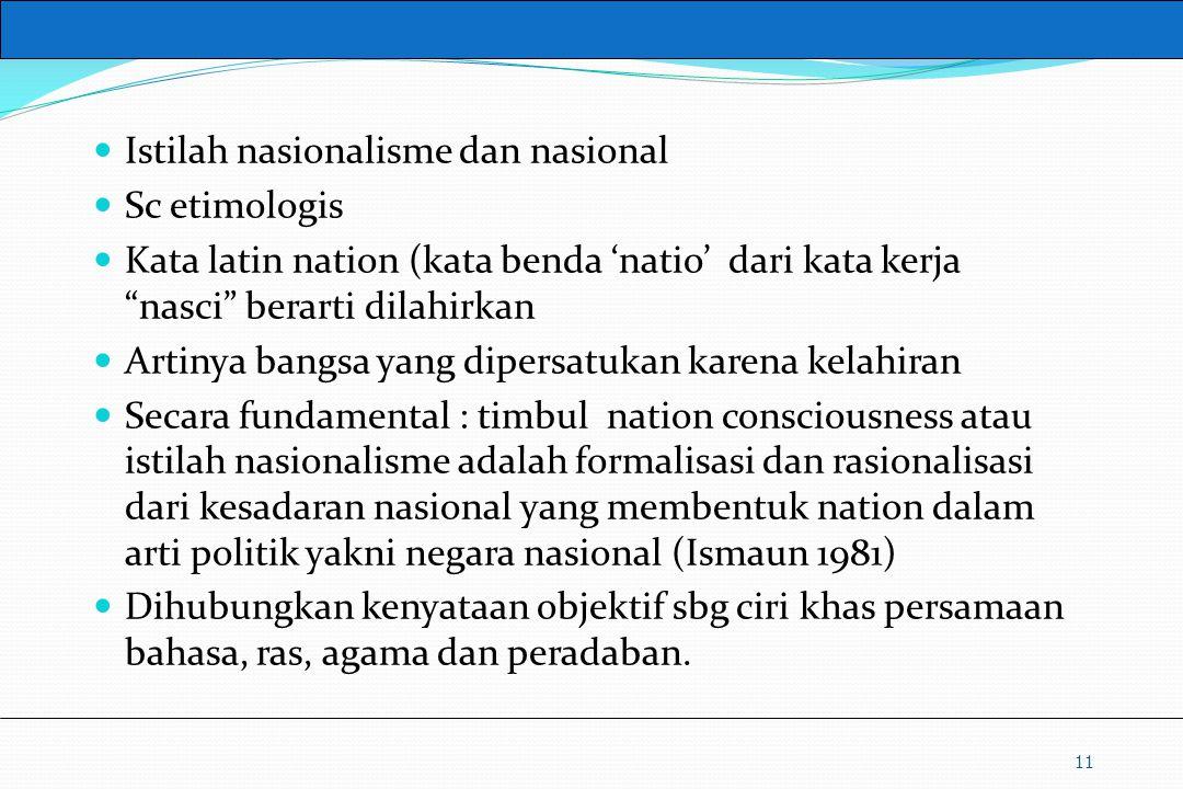 Istilah nasionalisme dan nasional