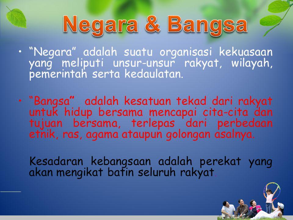 Negara & Bangsa Negara adalah suatu organisasi kekuasaan yang meliputi unsur-unsur rakyat, wilayah, pemerintah serta kedaulatan.