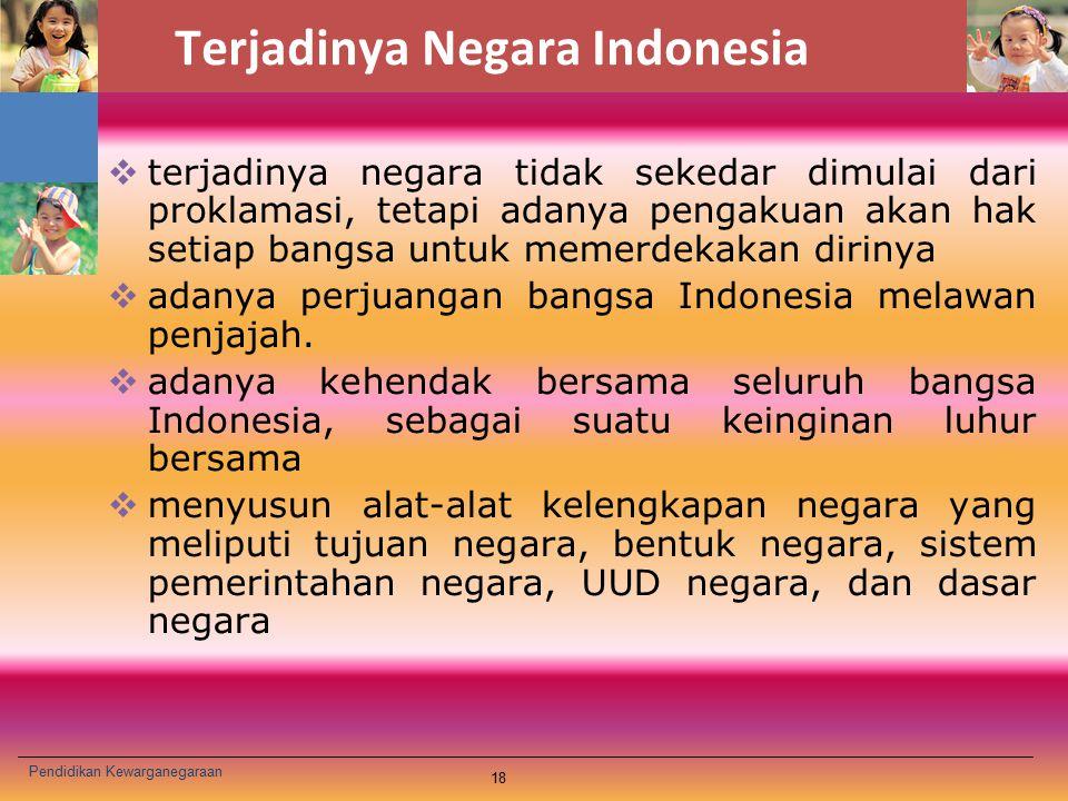 Terjadinya Negara Indonesia