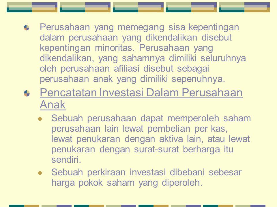 Pencatatan Investasi Dalam Perusahaan Anak
