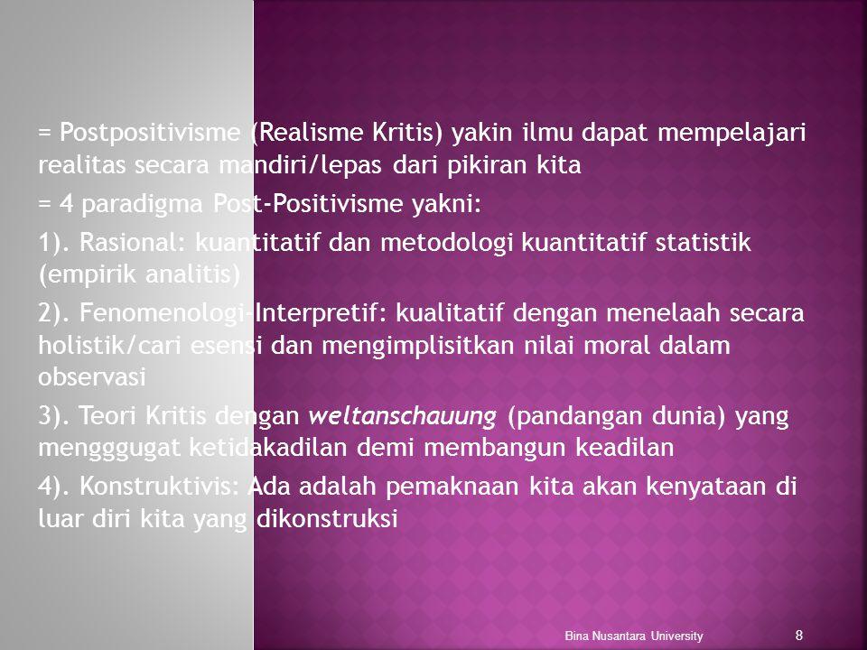 = 4 paradigma Post-Positivisme yakni: