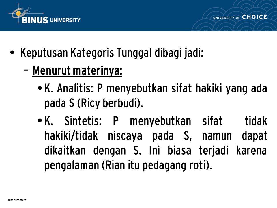 Keputusan Kategoris Tunggal dibagi jadi: Menurut materinya: