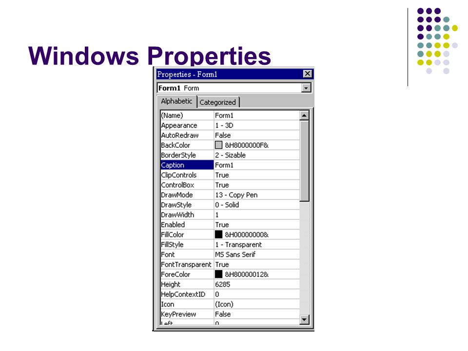 Windows Properties