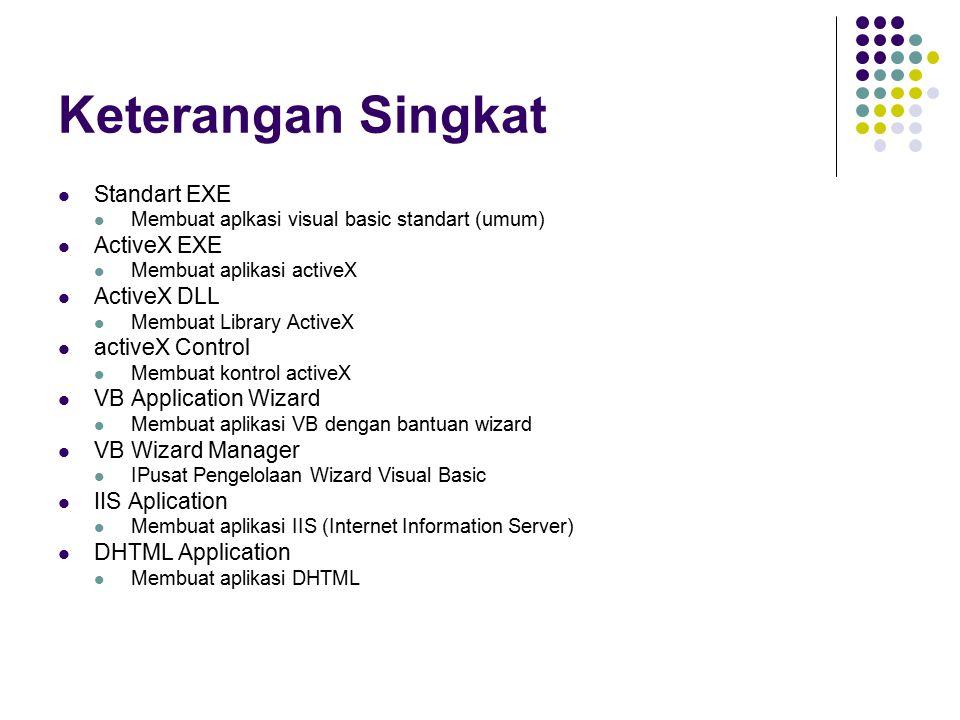Keterangan Singkat Standart EXE ActiveX EXE ActiveX DLL