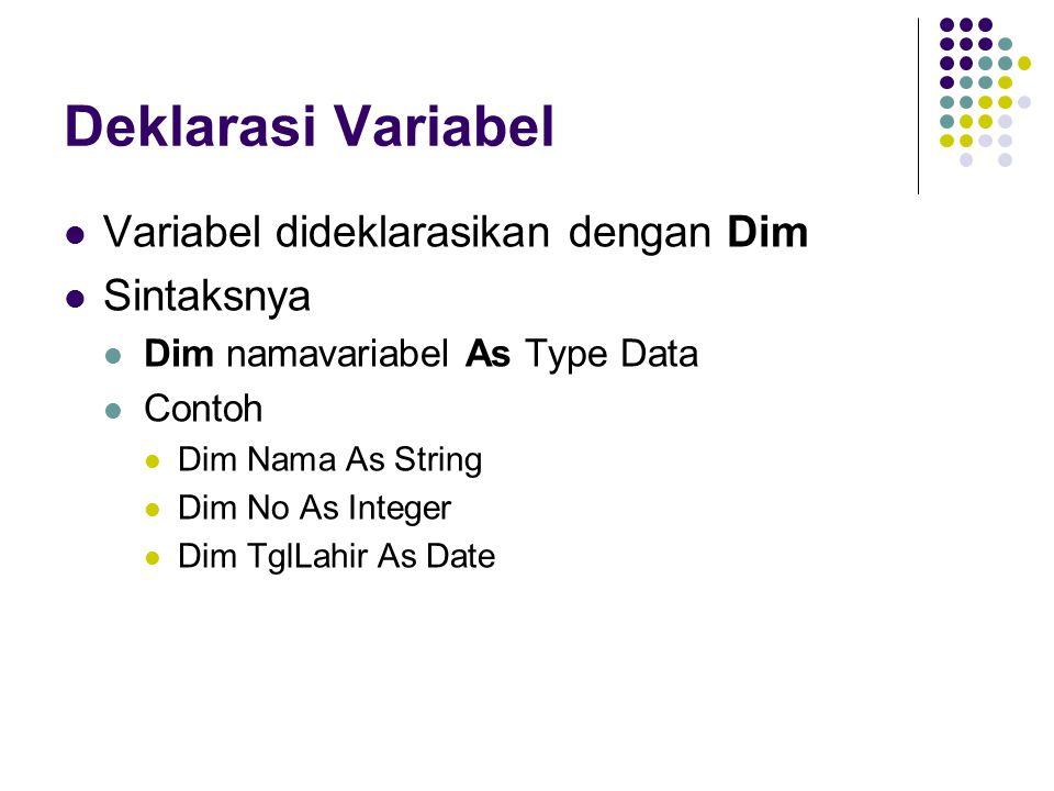 Deklarasi Variabel Variabel dideklarasikan dengan Dim Sintaksnya