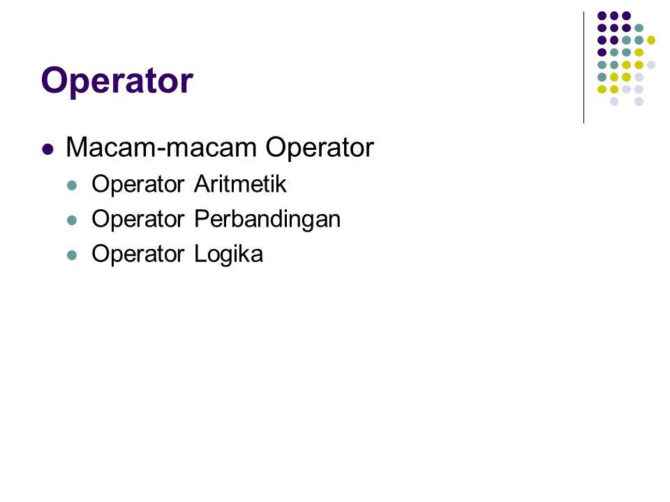 Operator Macam-macam Operator Operator Aritmetik Operator Perbandingan