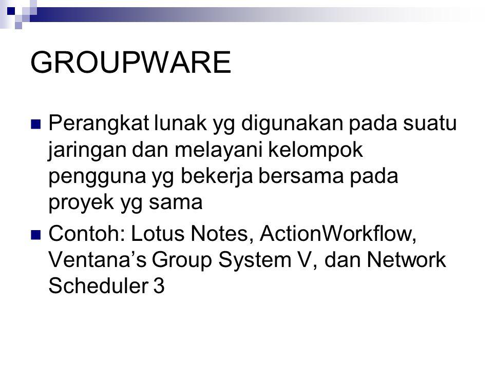 GROUPWARE Perangkat lunak yg digunakan pada suatu jaringan dan melayani kelompok pengguna yg bekerja bersama pada proyek yg sama.