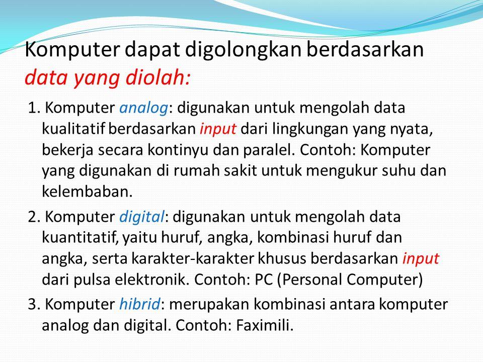 Komputer dapat digolongkan berdasarkan data yang diolah: