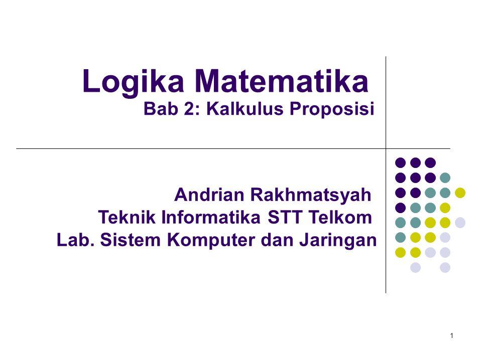 Logika Matematika Bab 2: Kalkulus Proposisi