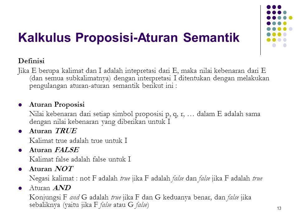 Kalkulus Proposisi-Aturan Semantik