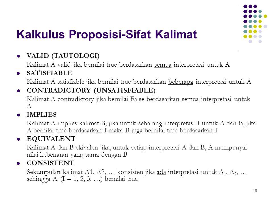 Kalkulus Proposisi-Sifat Kalimat
