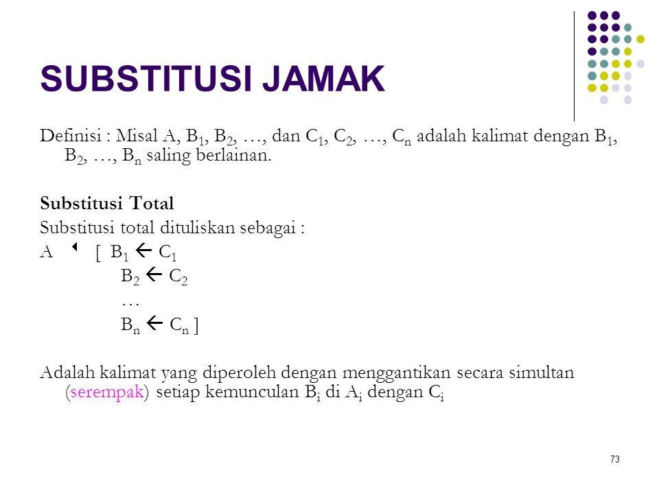 SUBSTITUSI JAMAK Definisi : Misal A, B1, B2, …, dan C1, C2, …, Cn adalah kalimat dengan B1, B2, …, Bn saling berlainan.