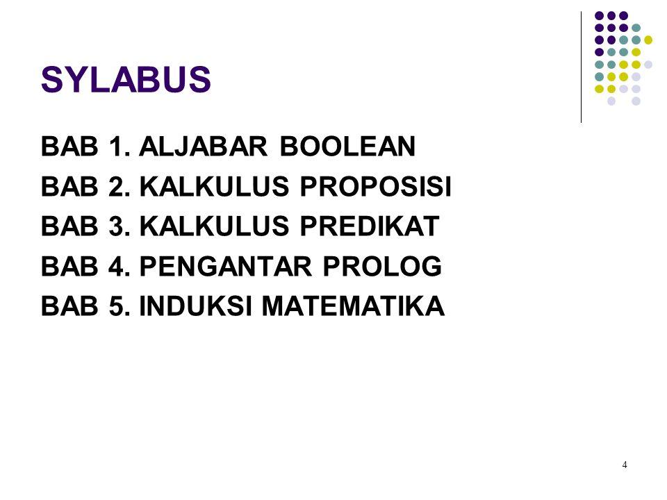 SYLABUS BAB 1. ALJABAR BOOLEAN BAB 2. KALKULUS PROPOSISI BAB 3.