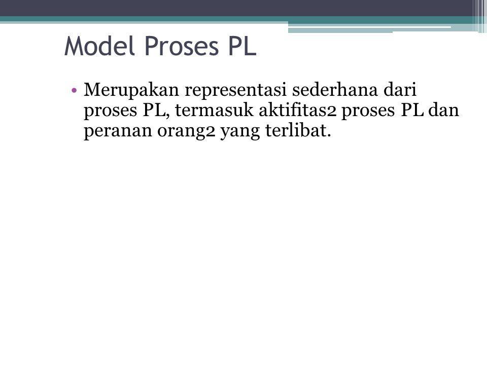 Model Proses PL Merupakan representasi sederhana dari proses PL, termasuk aktifitas2 proses PL dan peranan orang2 yang terlibat.