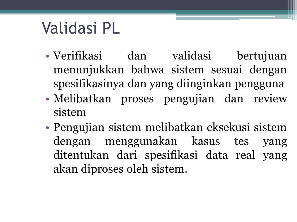 Validasi PL Verifikasi dan validasi bertujuan menunjukkan bahwa sistem sesuai dengan spesifikasinya dan yang diinginkan pengguna.