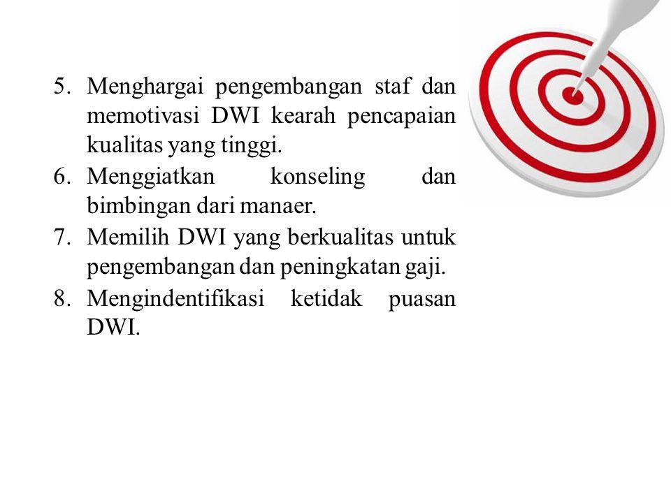 Menghargai pengembangan staf dan memotivasi DWI kearah pencapaian kualitas yang tinggi.