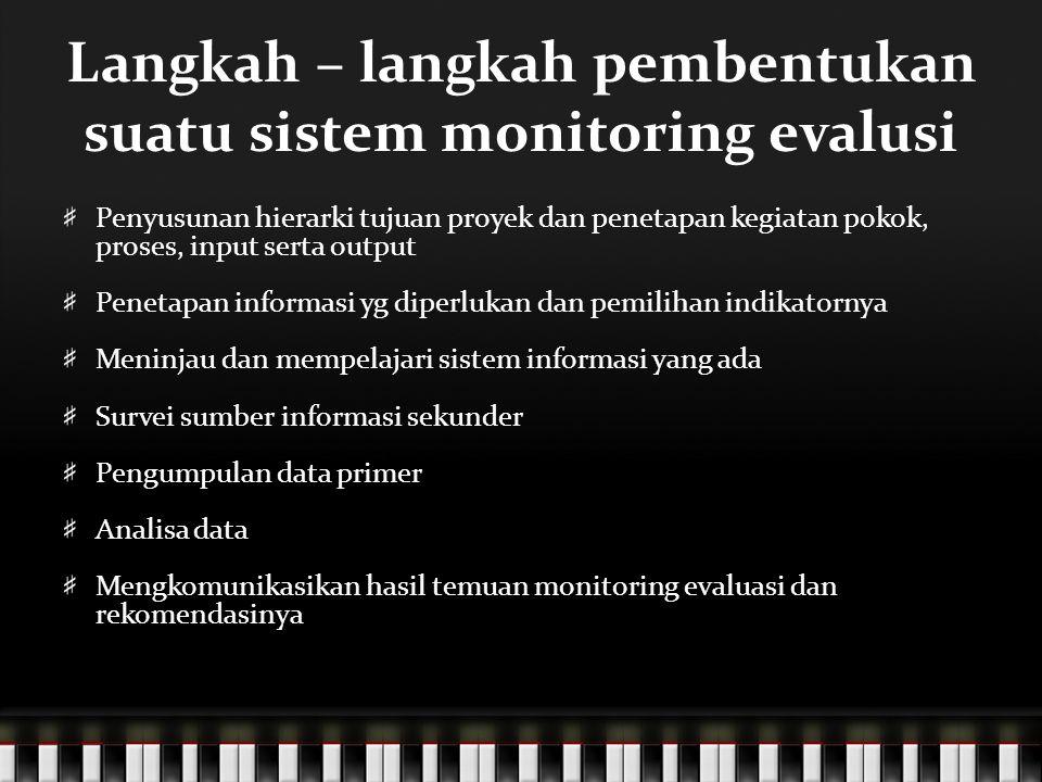 Langkah – langkah pembentukan suatu sistem monitoring evalusi
