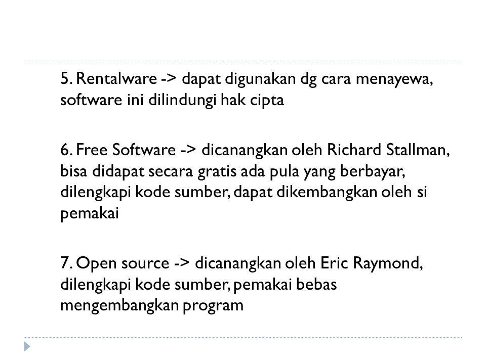 5. Rentalware -> dapat digunakan dg cara menayewa, software ini dilindungi hak cipta 6.
