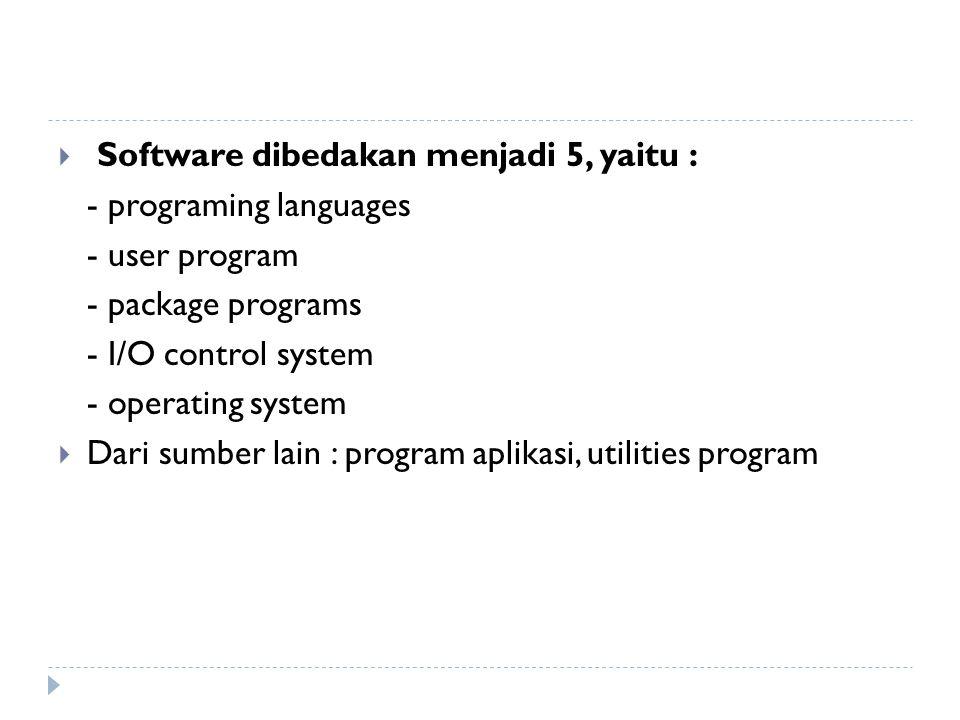 Software dibedakan menjadi 5, yaitu :