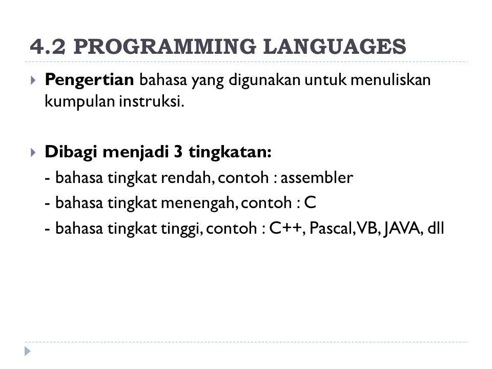 4.2 PROGRAMMING LANGUAGES