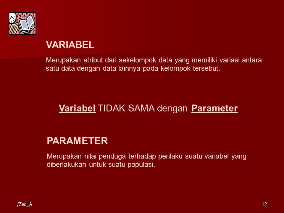 VARIABEL PARAMETER Variabel TIDAK SAMA dengan Parameter