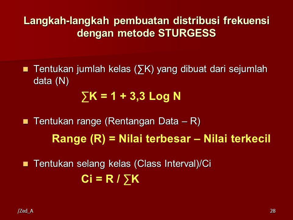 Langkah-langkah pembuatan distribusi frekuensi dengan metode STURGESS