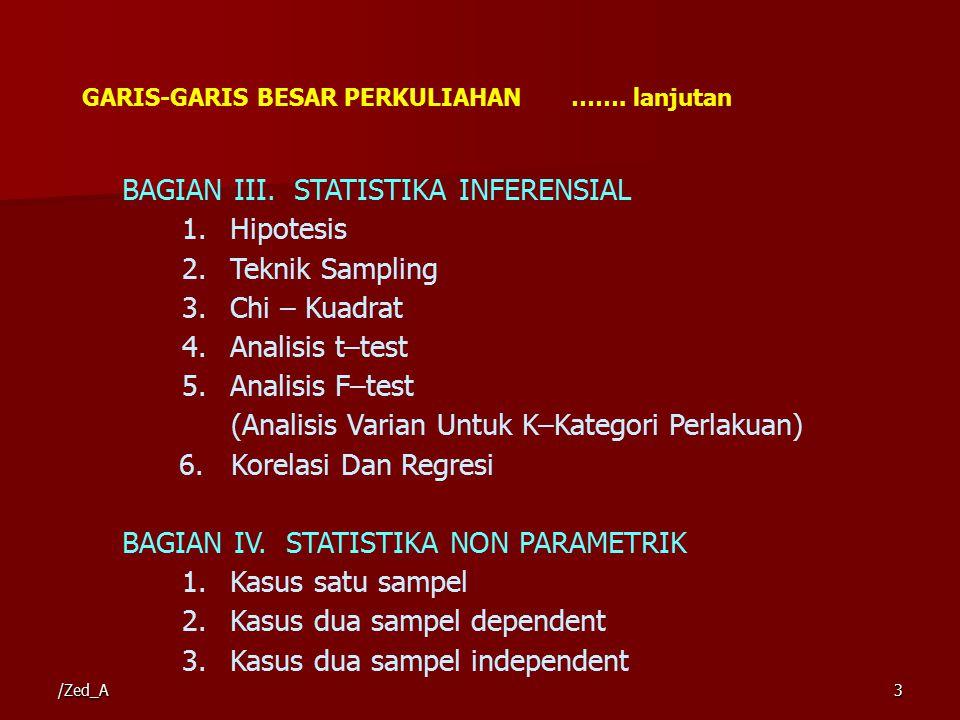 BAGIAN III. STATISTIKA INFERENSIAL Hipotesis Teknik Sampling